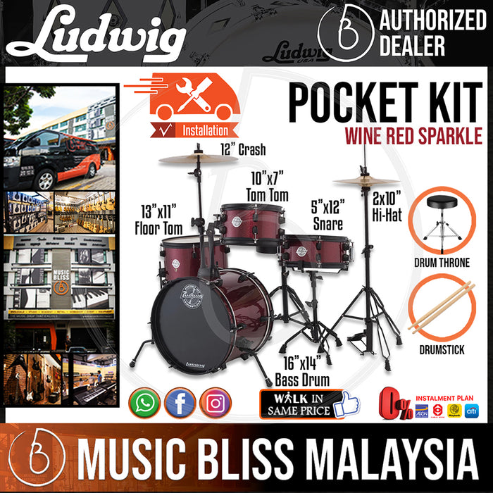 "Ludwig LC178X025DIR Pocket Kit 4-Piece Drum Kit with  16"" Bass Drum *Include 3-Pieces Cymbal Set (10""HH 12""CRASH/RIDE), Drumsticks and Throne* - Red Wine Sparkle - Music Bliss Malaysia"