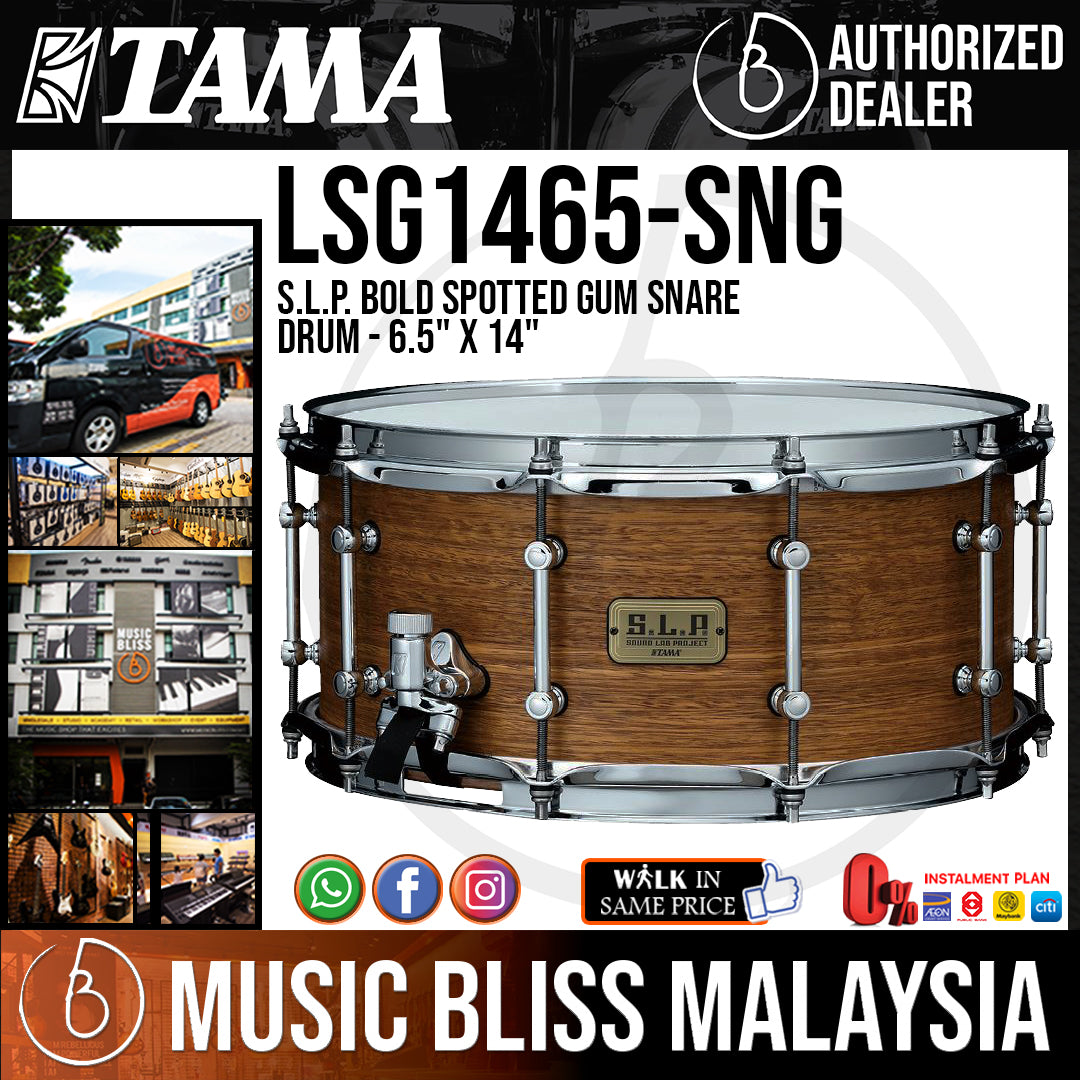 """Tama LSG1465 S.L.P. Bold Spotted Gum Snare Drum - 6.5"""" x 14"""" - Music Bliss Malaysia"""