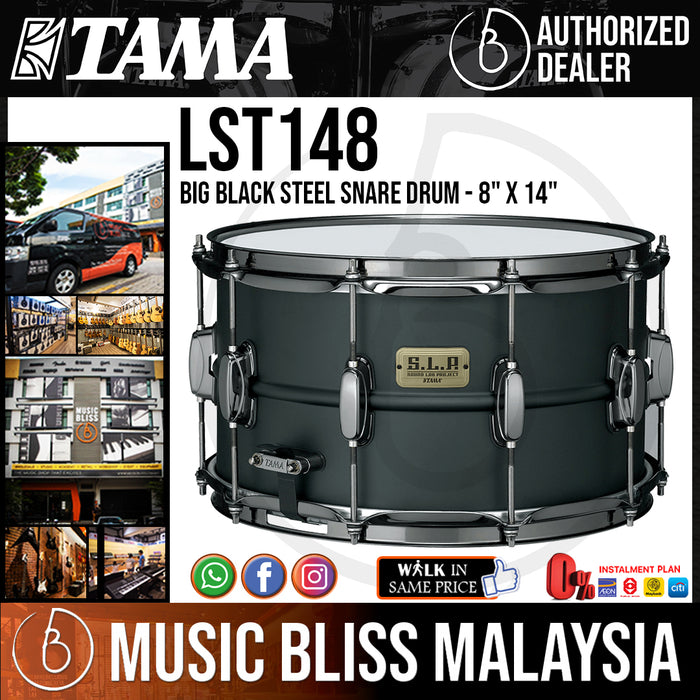 "Tama S.L.P. Big Black Steel Snare Drum - 8"" x 14"" (LST148/LST-148) - Music Bliss Malaysia"