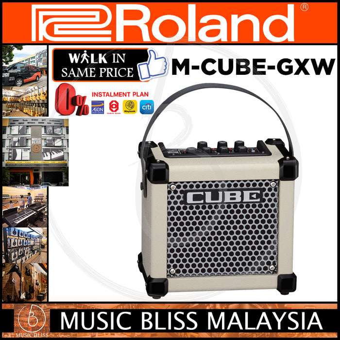 Roland Micro Cube GX 3-watt 1x5 Battery Powered Combo Amplifier - White (M-CUBE-GXW)