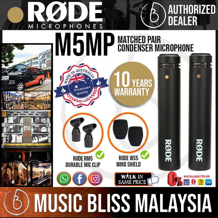Rode M5 Matched Pair Condenser Microphone (M5MP) 10 Years Warranty [Made in Australia] *Everyday Low Prices Promotion* - Music Bliss Malaysia