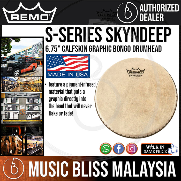 "Remo S-Series Skyndeep Bongo Drum Head with Calfskin Graphic - 6.75"" (M6-S675-S2-SD003 / M6S675S2SD003 / M6 S675 S2 SD003) - Music Bliss Malaysia"