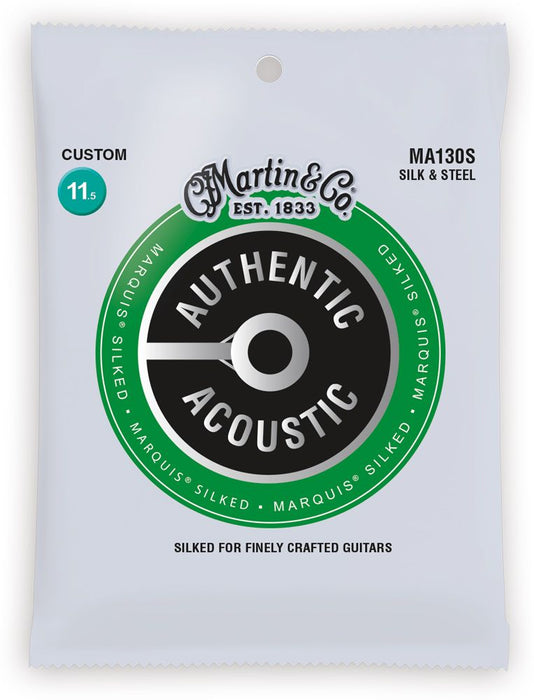 Martin MA130S Marquis Silked Silk and Steel Authentic Acoustic Guitar Strings Silk and Steel 11.5-47 - Music Bliss Malaysia
