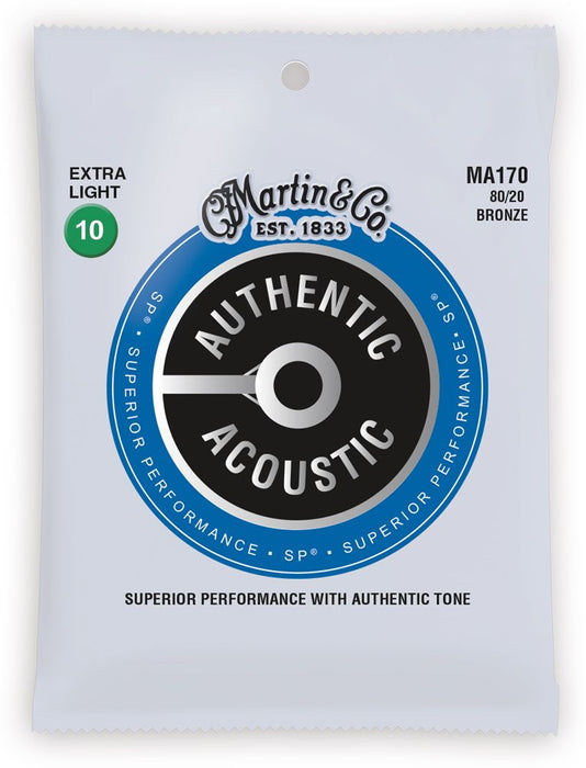 Martin MA170 SP 80/20 Bronze Authentic Acoustic Guitar Strings Extra Light 10-47 - Music Bliss Malaysia