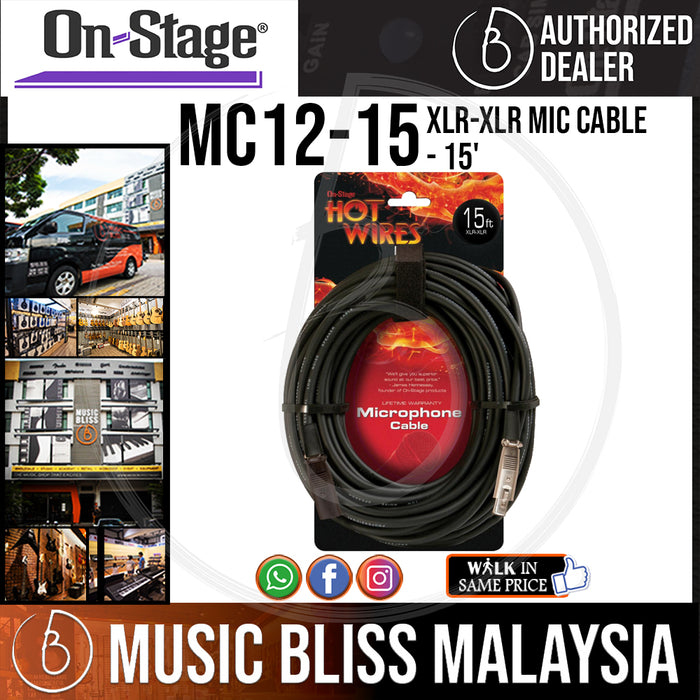 On-Stage MC12-15 15 Feet Mic Cable [XLR-XLR] (OSS MC12-15) - Music Bliss Malaysia