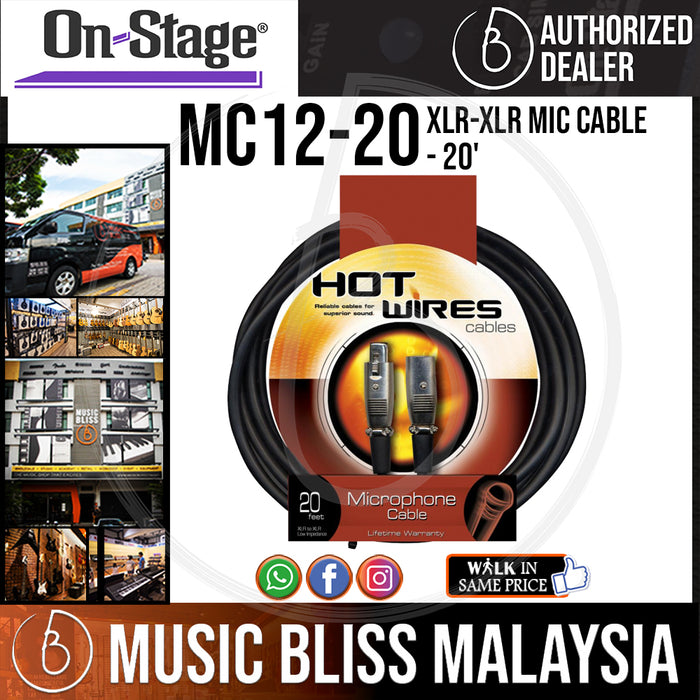 On-Stage MC12-20 20 Feet Mic Cable [XLR-XLR] ( OSS MC12-20 ) - Music Bliss Malaysia