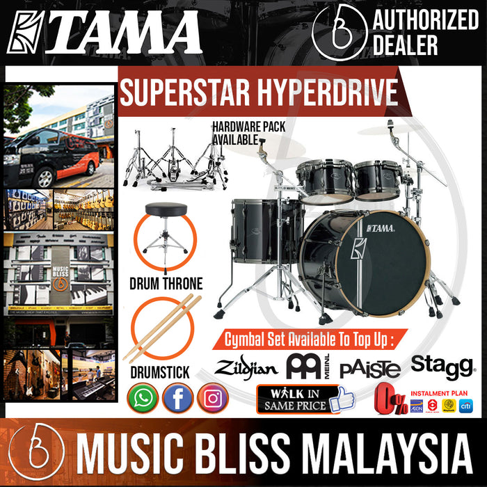 Tama Superstar Hyperdrive MK52HZBNS 5pc Drum Set Brushed Charcoal Black with Hardware - Music Bliss Malaysia