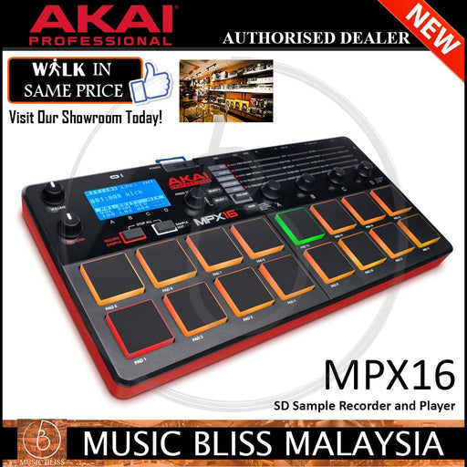 Akai Professional MPX16 SD Sample Recorder and Player (MPX16-M10) - Music Bliss Malaysia