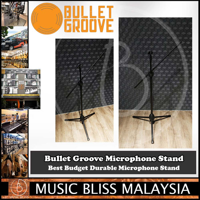 Bullet Groove Microphone Stand, Mic Stand for multiple mic sizes & types, Best Budget Durable Microphone Stands