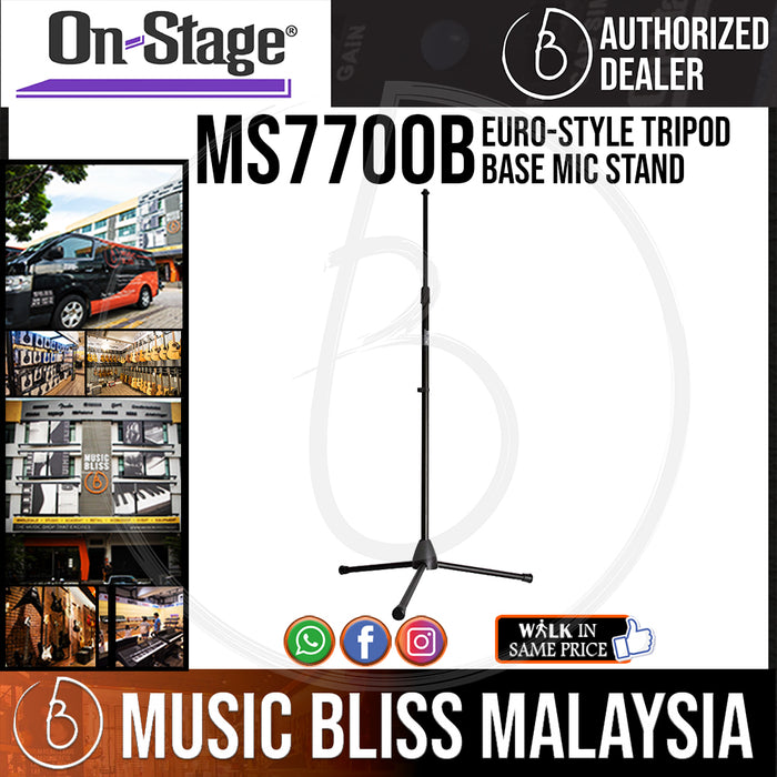 On-Stage MS7700B Euro-Style Tripod Base Mic Stand ( OSS MS7700B ) - Music Bliss Malaysia