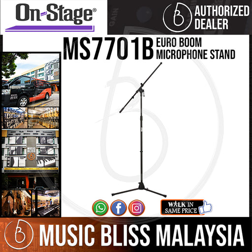 On-Stage MS7701B Euro Boom Microphone Stand ( OSS MS7701B ) - Music Bliss Malaysia