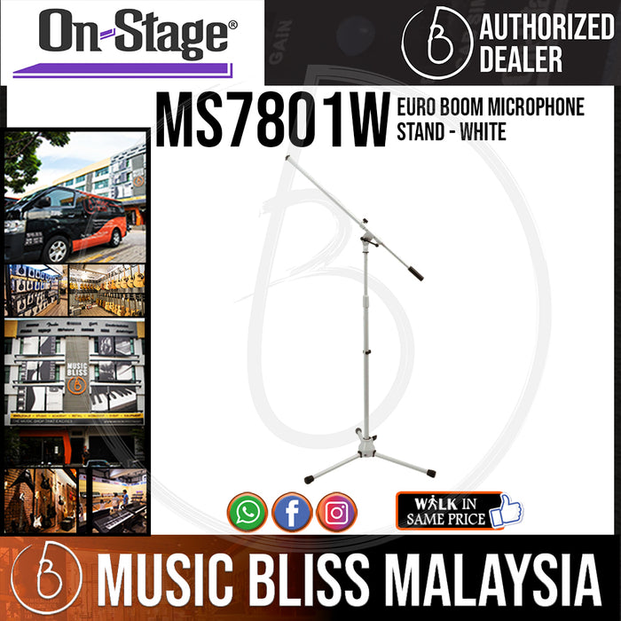 On-Stage MS7801W Euro Boom Microphone Stand - White (OSS MS7801W)