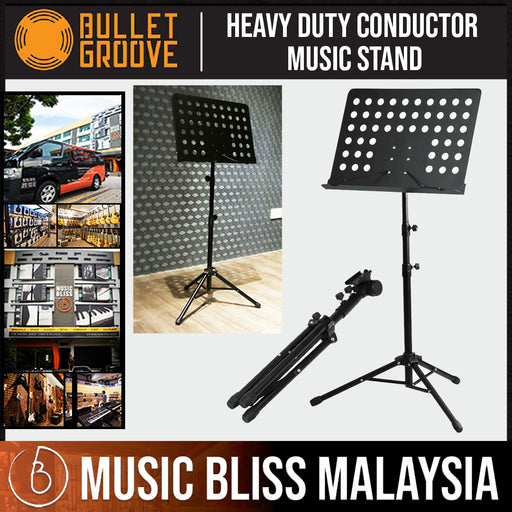 Bullet Groove Conductor Music Stand, Heavy Duty Conductor Music Stand for Violin, Guitar, Flute and Instrumental Performance, Orchestra Music Stands - Music Bliss Malaysia