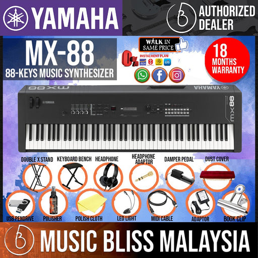 Yamaha MX-88 88-Key Weighted Action Music Synthesizer 14 in 1 Complete Package (MX88 / MX 88) - Music Bliss Malaysia