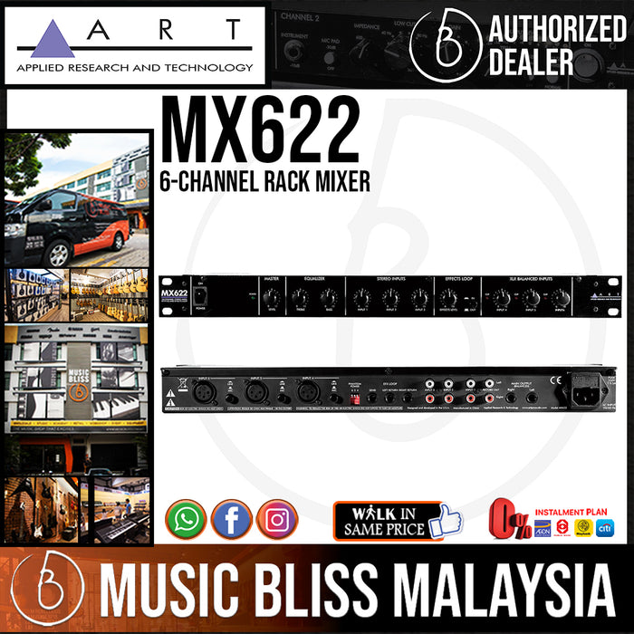 ART MX622 6-channel Rack Mixer with 3 Microphone Inputs, 3 Unbalanced Stereo Inputs, Balanced Outputs, and an FX Loop (MX-622) - Music Bliss Malaysia
