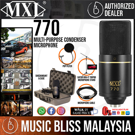 MXL 770 Professional Studio Condenser Mic + Mic Stand +  Pop Filter + XLR Cable Package