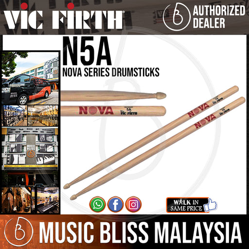 Vic Firth Nova Series USA Hickory Drumsticks - 5A - Wood Tip (N5A) - Music Bliss Malaysia