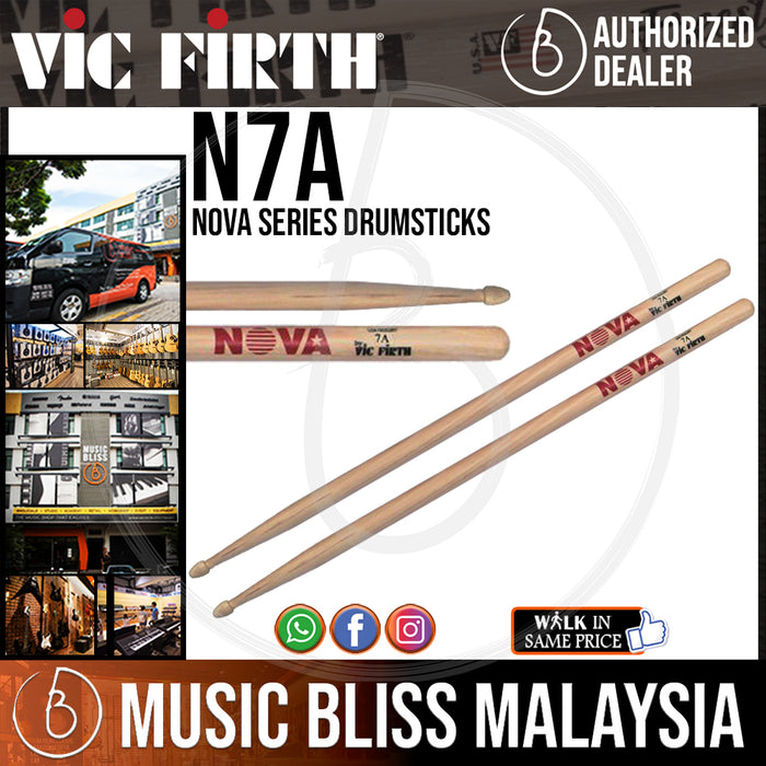 Vic Firth Nova Series USA Hickory Drumsticks - 7A - Wood Tip (N7A) - Music Bliss Malaysia