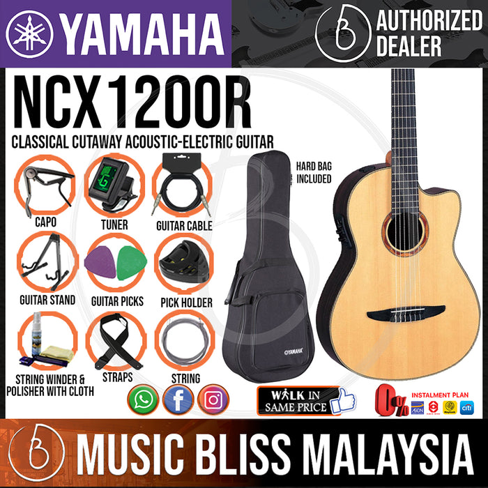 Yamaha NCX1200R Classical Cutaway Acoustic-Electric Guitar with Hard Bag (NCX-1200R) - Music Bliss Malaysia