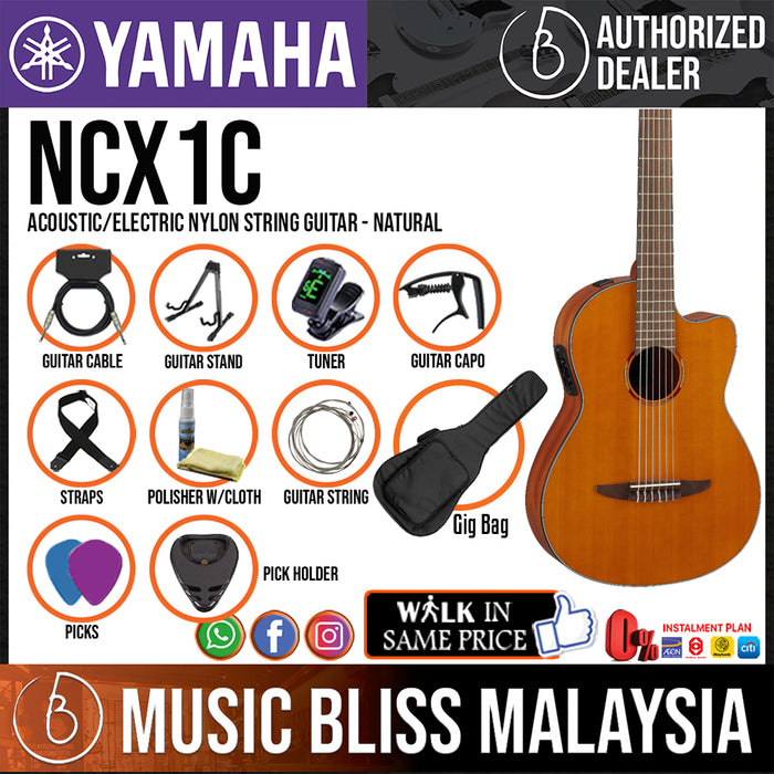 Yamaha NCX1C Acoustic/Electric Nylon String with Cedar Top (NCX-1C) *Price Match Promotion* - Music Bliss Malaysia