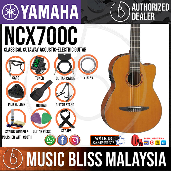 Yamaha NCX700C Classical Cutaway Acoustic-Electric Guitar with Pickup (NCX-700C) - Music Bliss Malaysia