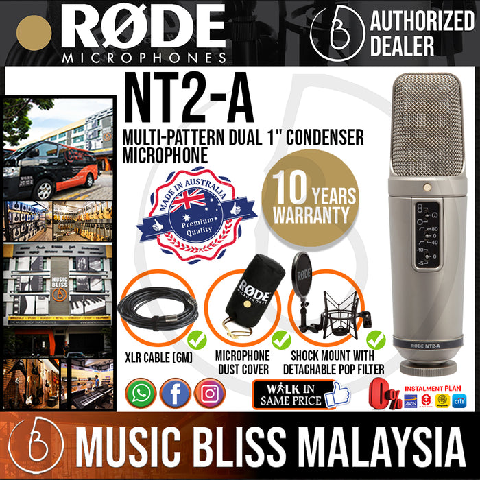 Rode NT2-A Condenser Microphone (NT2A) 10 Years Warranty [Made in Australia] - Music Bliss Malaysia