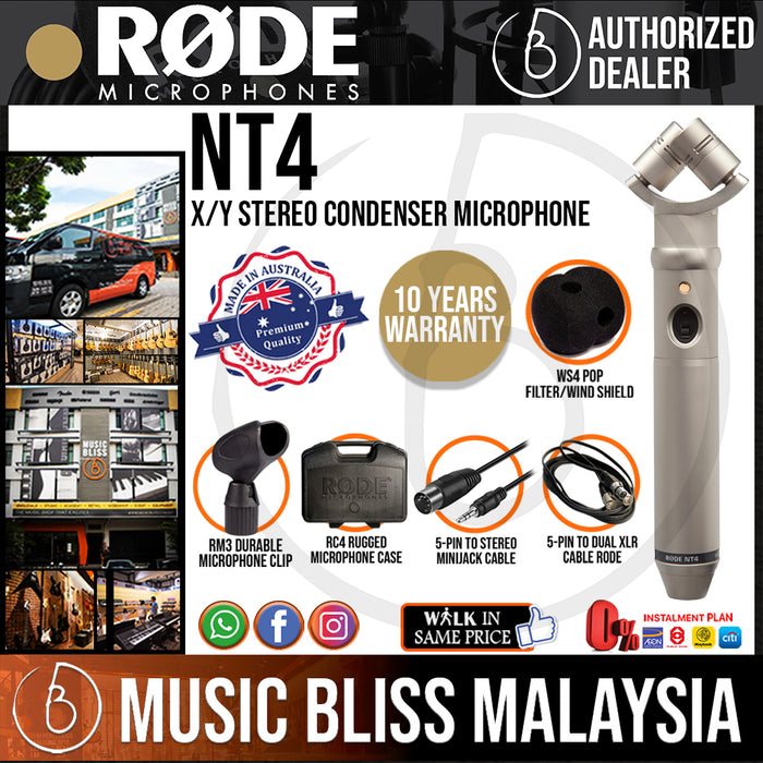 Rode NT4 Stereo X/Y Condenser Microphone (NT-4) 10 Years Warranty [Made in Australia]
