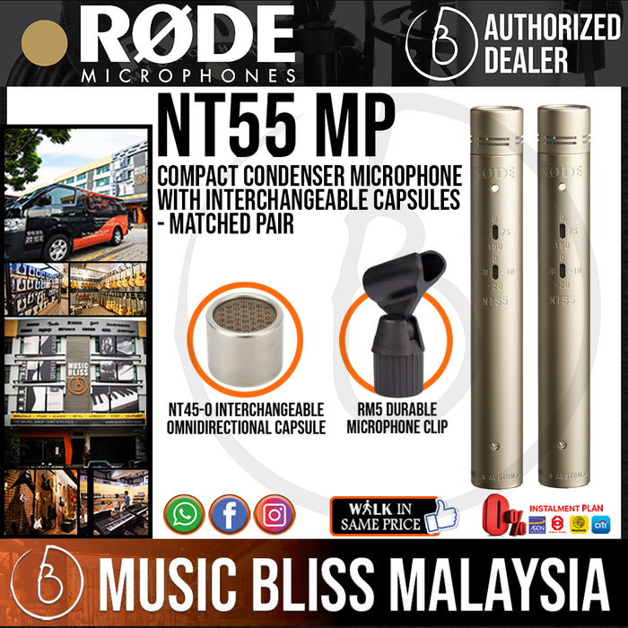 Rode NT55 Compact Condenser Microphone with Interchangeable Capsules - Matched Pair (NT-55) *Everyday Low Prices Promotion* - Music Bliss Malaysia