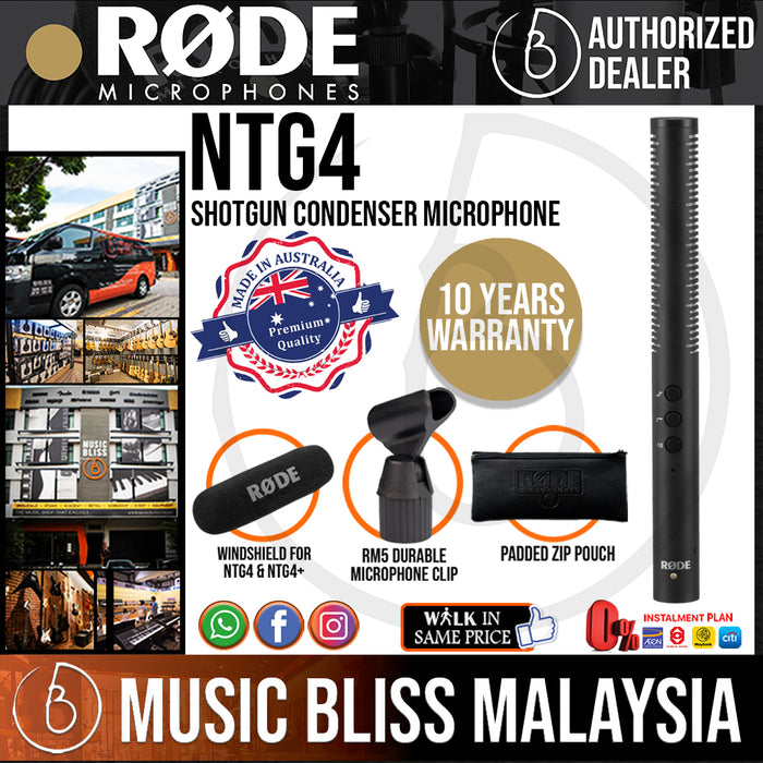 Rode NTG4 Shotgun Condenser Microphone (NTG-4) 10 Years Warranty [Made in Australia]