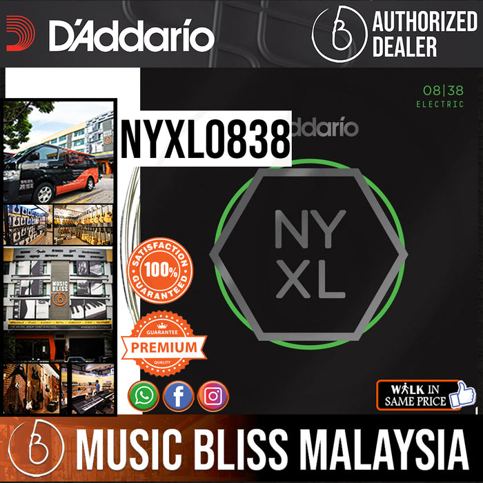 D'Addario NYXL0838 Nickel Wound Electric Strings -.008-.038 Extra Super Light