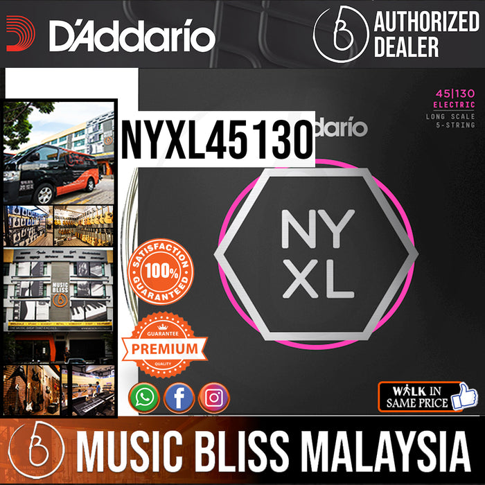 D'Addario NYXL45130 Regular Light 5-string Long Scale Nickel Wound Bass Strings - .045-.130 - Music Bliss Malaysia
