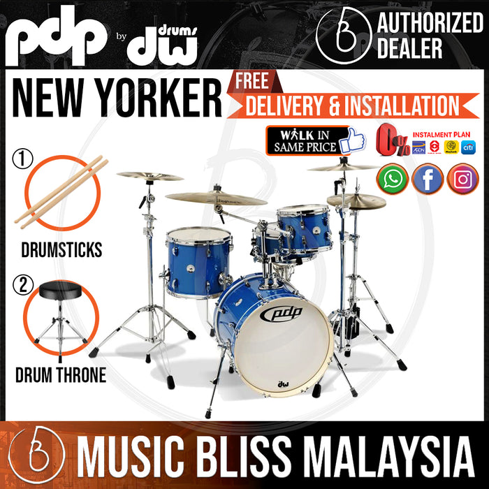 "PDP by DW New Yorker 4-Piece Shell Pack with 18"" Bass Drum - Sapphire Sparkle"