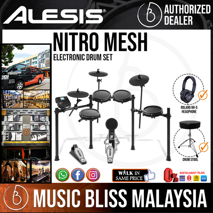 Alesis Nitro Mesh Electronic Drum Set with Roland RH-5 Headphone and Drum Stool - Music Bliss Malaysia