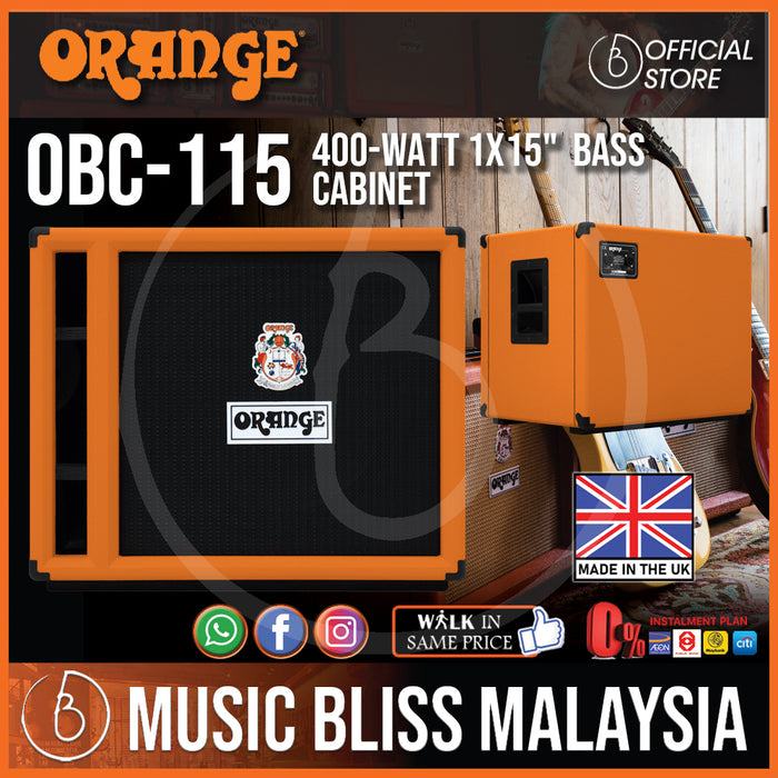 "Orange OBC115 1x15"" 400W Bass Cabinet (Made in UK) - Music Bliss Malaysia"