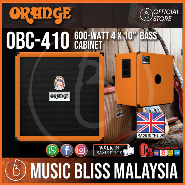 "Orange OBC410 4x10"" 600W Bass Cabinet with Horn 8-ohm (Made in UK) - Music Bliss Malaysia"