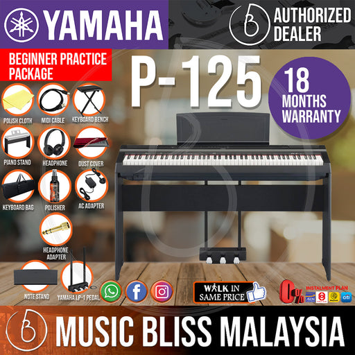 Yamaha P-125 88-Keys Digital Piano 10 in 1 Performing Package - Black (P125 / P 125) *Crazy Sales Promotion* - Music Bliss Malaysia