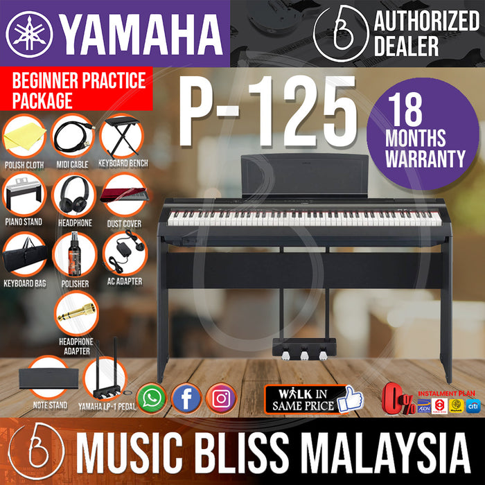 Yamaha P-125 88-Keys Digital Piano 10 in 1 Performing Package - Black (P125 / P 125) *INSANE Sales Promotion*