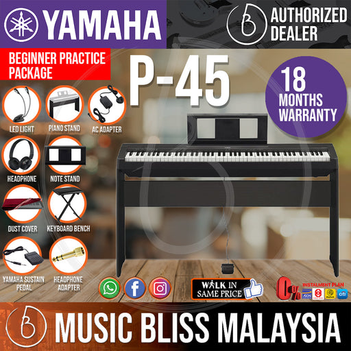 Yamaha P-45 88-Keys Digital Piano with Keyboard Bench, Headphone and Dust Cover (P45 / P 45) *Crazy Sales Promotion* - Music Bliss Malaysia