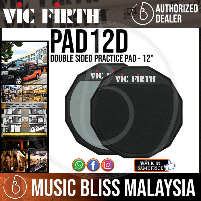 "Vic Firth Double Sided Practice Pad - 12"" (PAD12D) - Music Bliss Malaysia"