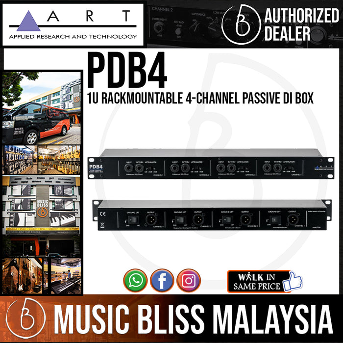 ART PDB4 1U Rackmountable 4-Channel Passive DI Box (PDB-4) *Price Match Promotion* - Music Bliss Malaysia