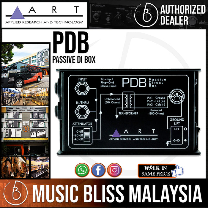 ART pdb Passive DI Box for Active Electric Guitar, Bass & Keyboards