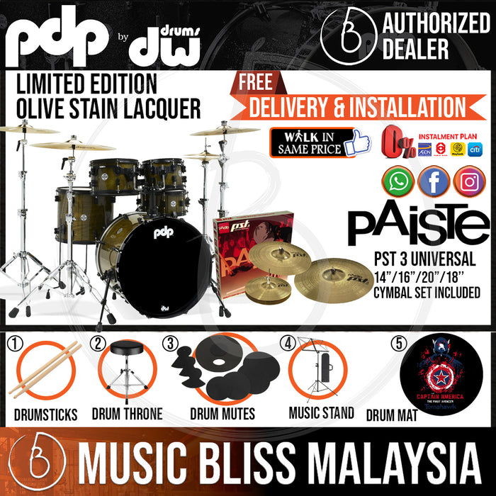 PDP by DW Limited Edition 5-piece Shell Pack with PAISTE PST 3 Cymbal Set - Olive Stain Lacquer - Music Bliss Malaysia