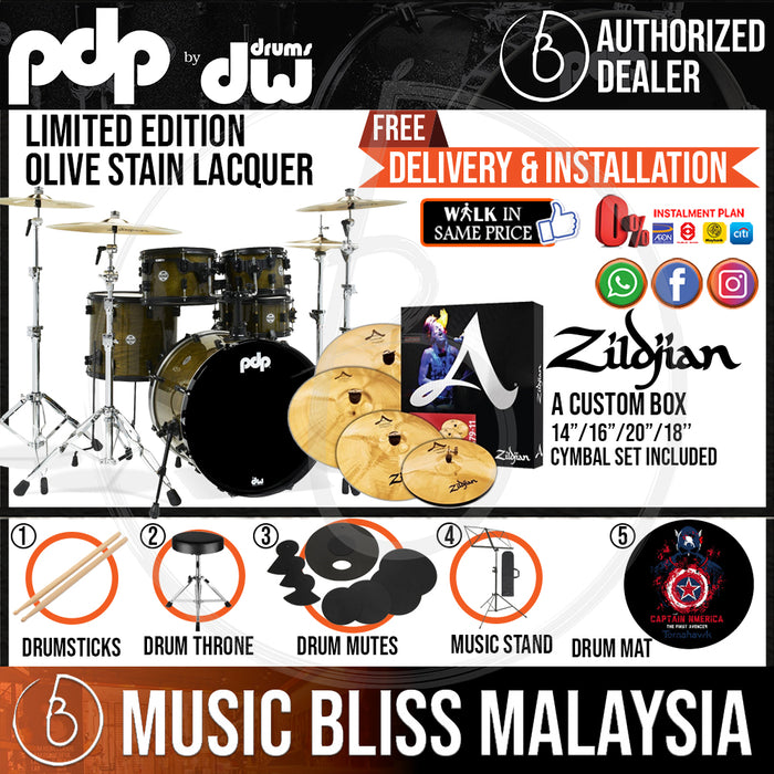 PDP by DW Limited Edition 5-piece Shell Pack with ZILDJIAN A Custom Cymbal Set - Olive Stain Lacquer - Music Bliss Malaysia