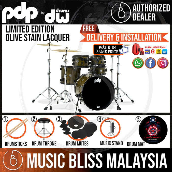 PDP by DW Limited Edition 5-piece Shell Pack - Olive Stain Lacquer - Music Bliss Malaysia