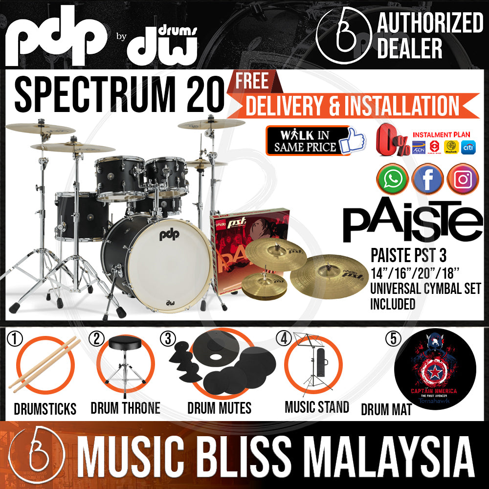 """PDP by DW Spectrum Series 5-piece Shell Pack with PAISTE PST 3 Cymbal Set - 20"""" Kick - Music Bliss Malaysia"""