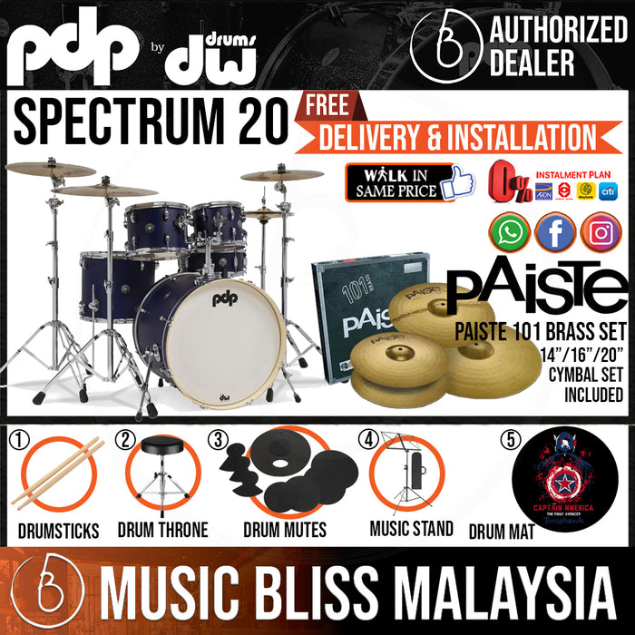 "PDP by DW Spectrum Series 5-piece Shell Pack with PAISTE 101 Cymbal Set - 20"" Kick - Music Bliss Malaysia"