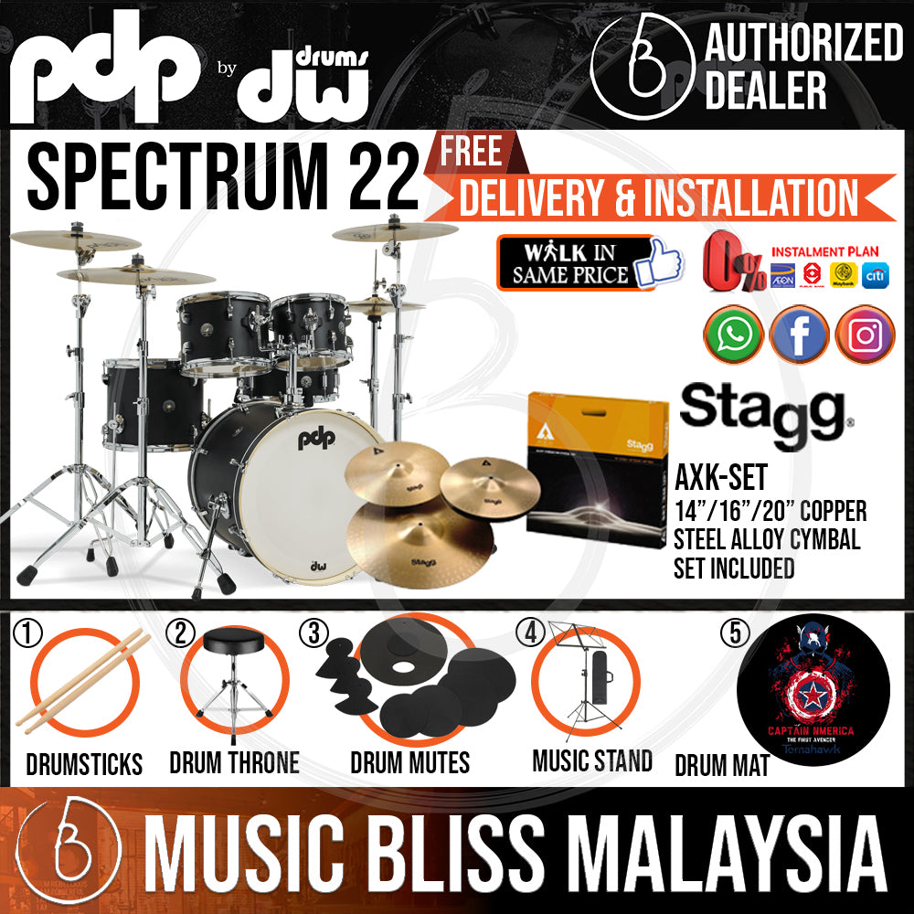 """PDP by DW Spectrum Series 5-piece Shell Pack with STAGG Cymbal Set - 22"""" Kick - Music Bliss Malaysia"""