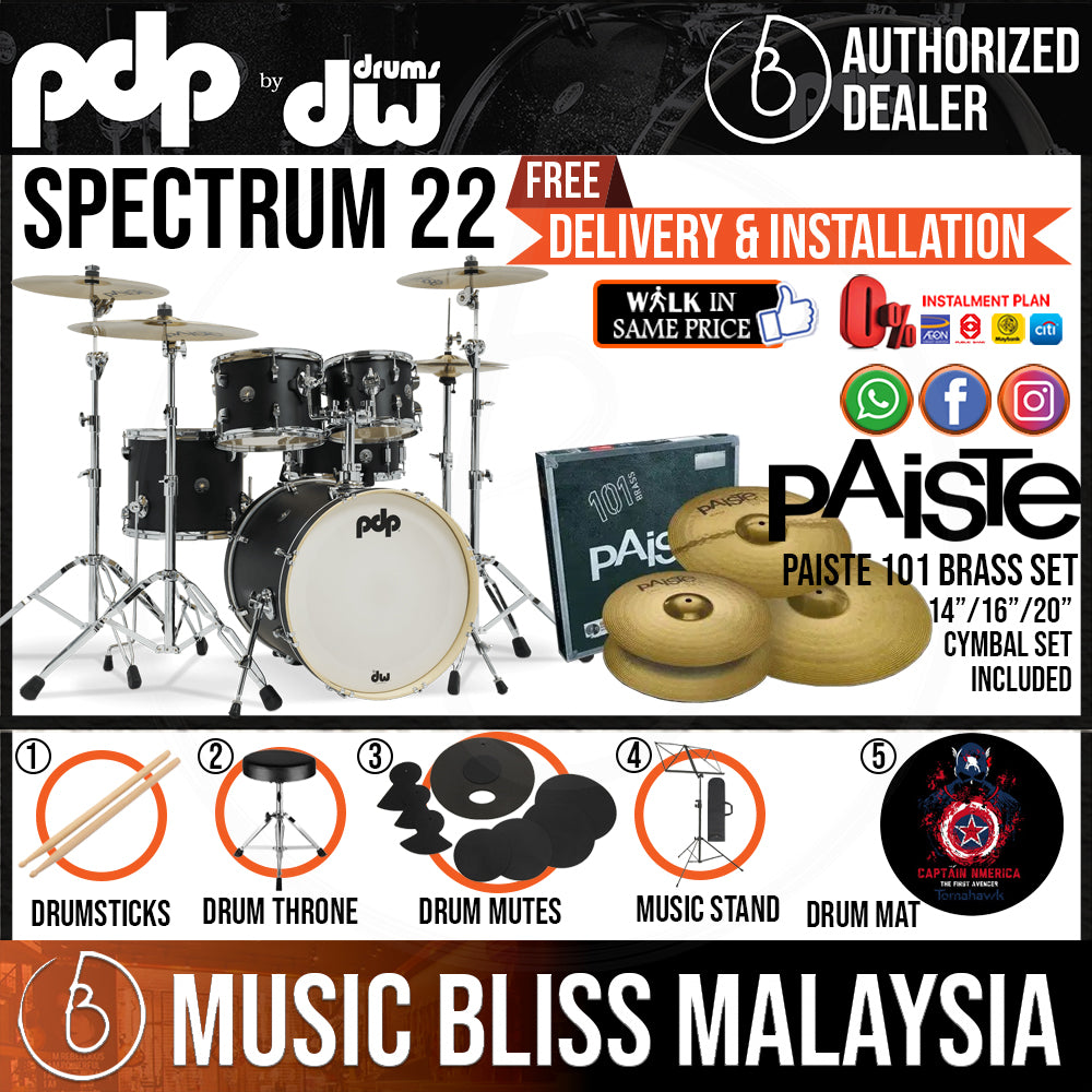 """PDP by DW Spectrum Series 5-piece Shell Pack with PAISTE 101 Cymbal Set - 22"""" Kick - Music Bliss Malaysia"""