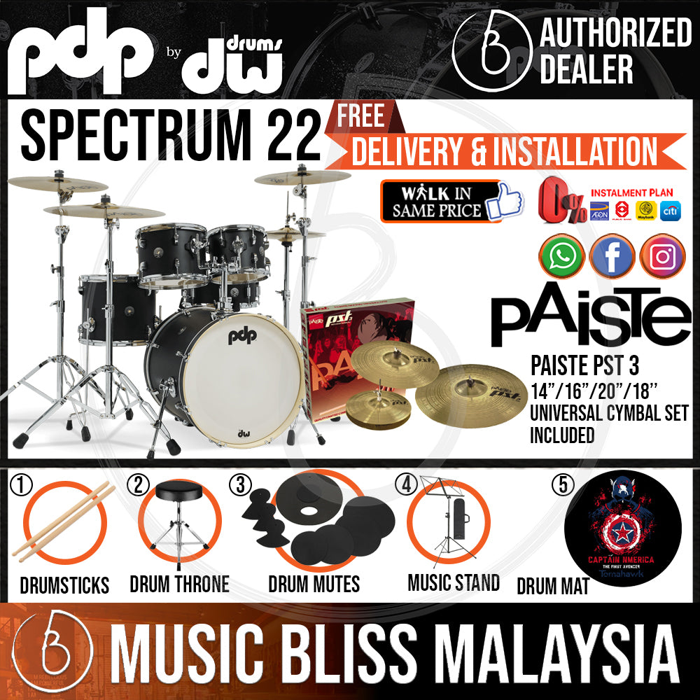 """PDP by DW Spectrum Series 5-piece Shell Pack with PAISTE PST 3 Cymbal Set - 22"""" Kick - Music Bliss Malaysia"""