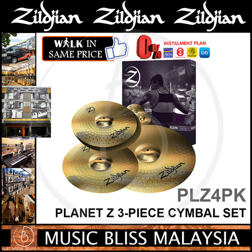 Zildjian Planet Z 3-piece Cymbal Set -14 inch Hi-hats, 16 inch Crash, 20 inch Ride (PLZ4PK)